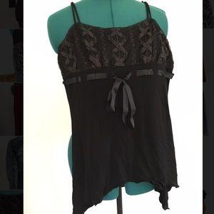 Black lace design spaghetti strap blouse
